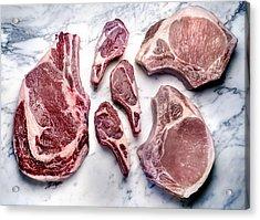 Beef Lamb Pork Raw Acrylic Print by ATU Images