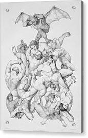 Beelzebub Expels The Fallen Angels Acrylic Print by Richard Edmond Flatters