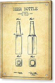 Beer Bottle Patent Drawing From 1934 - Vintage Acrylic Print by Aged Pixel