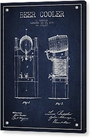 Beer Cooler Patent Drawing From 1876 - Navy Blue Acrylic Print