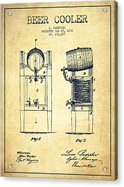 Beer Cooler Patent Drawing From 1876 - Vintage Acrylic Print by Aged Pixel