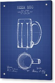 Beer Mug Patent 1876 - Blueprint Acrylic Print by Aged Pixel