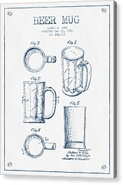 Beer Mug Patent Drawing From 1951 -  Blue Ink Acrylic Print by Aged Pixel