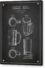 Beer Mug Patent Drawing From 1951 - Dark Acrylic Print by Aged Pixel
