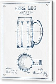 Beer Mug Patent From 1876 -  Blue Ink Acrylic Print by Aged Pixel