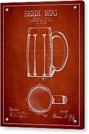 Beer Mug Patent From 1876 - Red Acrylic Print by Aged Pixel