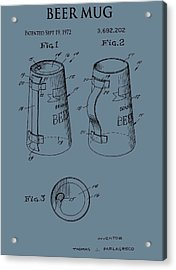 Beer Mug Patent On Blue Acrylic Print by Dan Sproul
