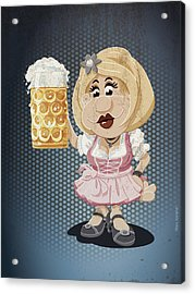 Beer Stein Dirndl Oktoberfest Cartoon Woman Grunge Color Acrylic Print