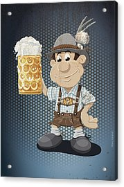 Beer Stein Lederhosen Oktoberfest Cartoon Man Grunge Color Acrylic Print