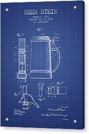 Beer Stein Patent 1914 - Blueprint Acrylic Print by Aged Pixel