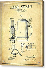 Beer Stein Patent From 1914 -vintage Acrylic Print by Aged Pixel