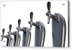 Beer Tap Row Isolated Acrylic Print by Allan Swart