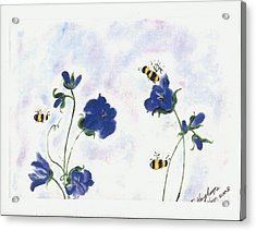 Bees At Lunch Time Acrylic Print by Francine Heykoop