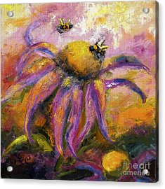 Acrylic Print featuring the painting Bees On Purple Coneflower Blossoms by Ginette Callaway