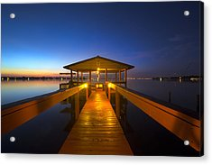 Before Dawn At The Dock Acrylic Print by Debra and Dave Vanderlaan