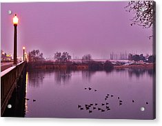 Acrylic Print featuring the photograph Before Sunrise On The Bridge by Lynn Hopwood