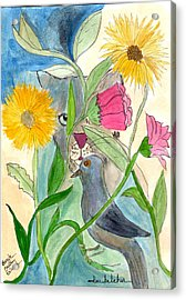 Acrylic Print featuring the painting Befriend All Beings - Human Or Otherwise by Lou Belcher