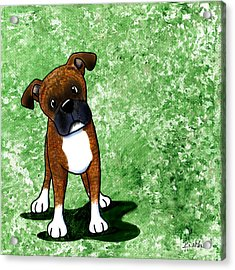 Befuddled Brindle Boxer Acrylic Print by Kim Niles
