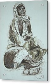 Beggar In The Ghetto Acrylic Print by Esther Newman-Cohen