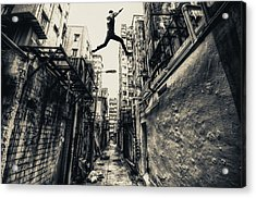 Behind Street Acrylic Print by Junites Uno