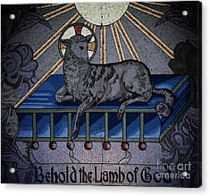 Behold The Lamb Of God Stained Glass Church Window  Acrylic Print by Inspired Nature Photography Fine Art Photography
