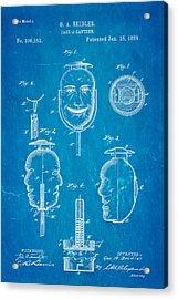 Beidler Jack-a-lantern Patent Art 1889 Blueprint Acrylic Print by Ian Monk