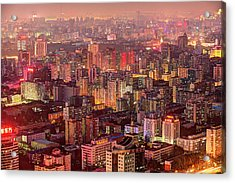 Beijing Buildings Density Acrylic Print by Tony Shi Photography