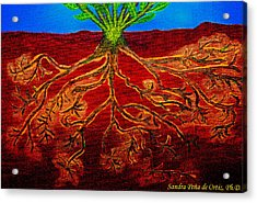 Being Rooted And Grounded In My Good Soil Acrylic Print by Sandra Pena de Ortiz