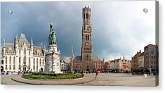 Belfry Of Bruges In The Historic Market Acrylic Print