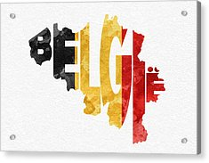 Belgium Typographic Map Flag Acrylic Print by Ayse Deniz