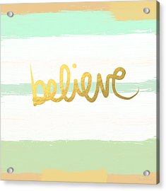 Believe In Mint And Gold Acrylic Print by Linda Woods