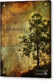 Believe In Miracles - With Text			 Acrylic Print by Claudia Ellis