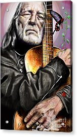 Believing In Rainbows And Butterflies-being Willie Acrylic Print by Reggie Duffie