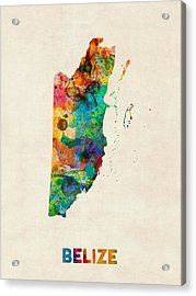 Belize Watercolor Map Acrylic Print