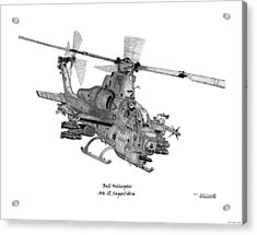 Acrylic Print featuring the drawing Bell Helicopter Ah-1z Supercobra by Arthur Eggers