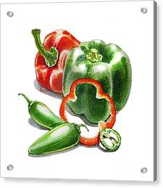 Bell Peppers Jalapenos  Acrylic Print by Irina Sztukowski