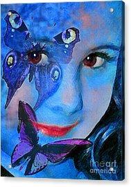Bellafly In Blue Acrylic Print by Jeff McJunkin