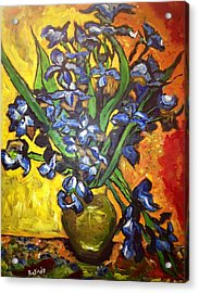 Acrylic Print featuring the painting Belle's Pot Of Fiery Irises by Belinda Low