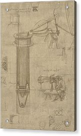 Bellows Perspectograph With Man Examining Inside From Atlantic Codex Acrylic Print by Leonardo Da Vinci