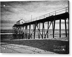 Acrylic Print featuring the photograph Belmar Fishing Pier In Black And White by Debra Fedchin