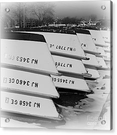 Belmar Marina Rowboats Acrylic Print by Paul Ward