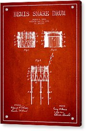 Bemis Snare Drum Patent Drawing From 1886 - Red Acrylic Print
