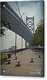Ben Franklin Bridge And Pier Acrylic Print by Tom Gari Gallery-Three-Photography