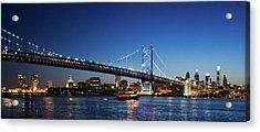 Ben Franklin Bridge At Dusk Acrylic Print