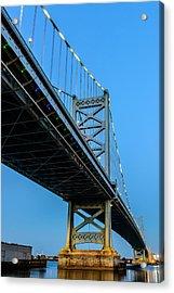 Ben Franklin Bridge Acrylic Print by Louis Dallara