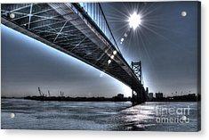 Ben Franklin Bridge Under The Sun Acrylic Print