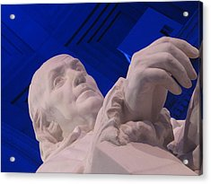Ben Franklin In Blue I Acrylic Print by Richard Reeve