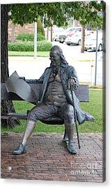 Ben Franklin Statue Acrylic Print by Mark McReynolds