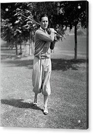 Ben Lyon Playing Golf Acrylic Print by Artist Unknown