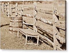 Bench And Barrel Acrylic Print by Trish Tritz